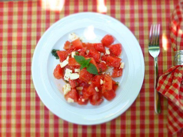 Wassermelone mit Schafskäse
